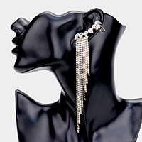 Crystal Rhinestone Fringe Ear Cuff Evening Earrings
