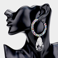 Rhinestone Pave Glass Crystal Evening Earrings