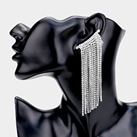 Crystal Rhinestone Fringe Clip On Evening Earrings