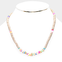 Disc Bead Crystal Triangle Bead Necklace