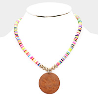 Round Wood Pendant disc Bead Necklace