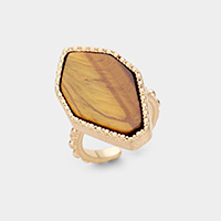 Natural Stone Gold Metal Trim Ring