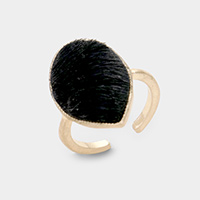 Animal Pattern Faux Fur Teardrop Ring