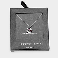 Secret Box _ 14K White Gold Dipped CZ Maple Pendant Necklace