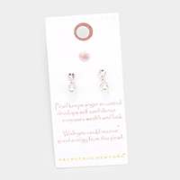Secret Box _  Sterling Silver Post Pearl Stud Earrings
