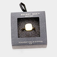Secret Box _ 14K Gold Dipped CZ Rectangle Cushion Cut Ring