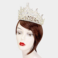 Crystal Rhinestone Pearl Pageant Queen Tiara