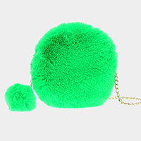 Plush Faux Fur Pom Pom Key Chain Crossbody Bag
