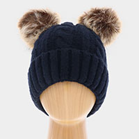 Single Layered Two Pom Pom Cuffed Knit Beanie Hat