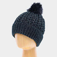 Double Layered Cheetah Print Pom Pom Beanie Hat