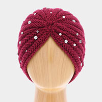 Single Layered Be jeweled Knitted Turban Hat