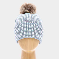 Double Layer Bedazzled Cuffed Pom Pom Beanie Hat