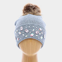 Double Layer Be Jeweled Knitted Cuffed Pom Pom Beanie Hat