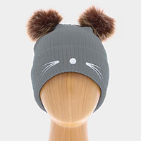 Cat Whiskers and Double Pom Pom Cuffed Beanie Hat