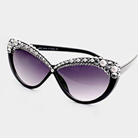 Pearl Crystal Embellished Detail Sunglasses