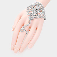 Crystal Rhinestone Pave Hand Chain Evening Bracelet
