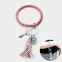 Serape Faux Leather Tassel Key Ring /Bracelet