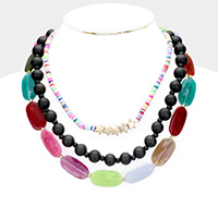 Colorful Stone Wood Ball Star Layered Necklace
