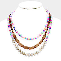 Colorful Disc Bead Wood Layered Necklace