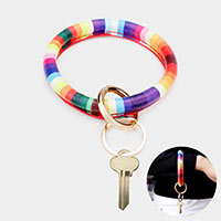 Faux Leather Rainbow Color Block Key Ring /Bracelet