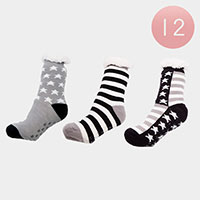 12PAIRS - Stripe Star Sherpa Slipper Socks