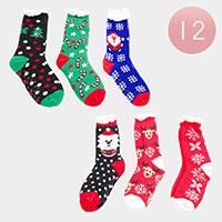 12PAIRS - Christmas Sherpa Slipper Socks