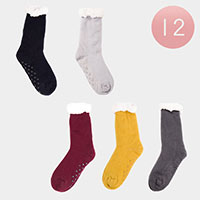 12PAIRS - Solid Color Faux Sherpa Slipper Socks