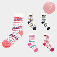 12PAIRS - Color Block Snowflake Faux Sherpa Slipper Socks