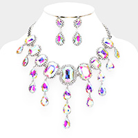 Emerald cut Crystal Rhinestone Pave Drop Evening Necklace