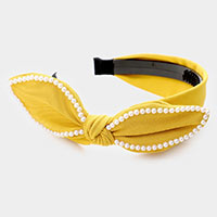 Pearl Trim Bow Head Band