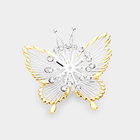 Rhinestone Pave Metal Butterfly Brooch / Pendant