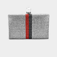 Rhinestone Color Block Crystal  Evening Clutch Bag
