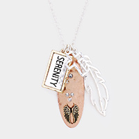 Serenity Cross Angel Wing Pendant Long Necklace
