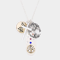 Tree of Life Cross Pendant Long Necklace