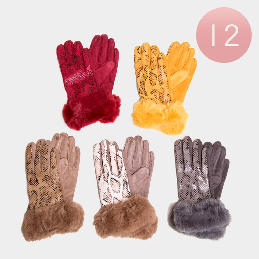 12PCS - Snake Pattern Faux Leather Fur Up Smart Gloves