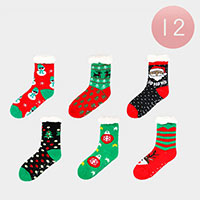 12PCS - Christmas Faux Sherpa Slipper Socks