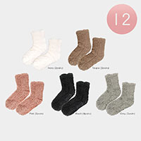 12PCS - Solid Sherpa Slipper Socks