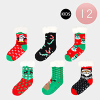 12PCS - Christmas Faux Kids Sherpa Slipper Socks