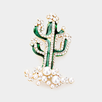 Cactus Rhinestone Pave Pearl Pin Brooch