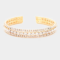 Rhinestone Crystal Statement Cuff Evening Bracelet