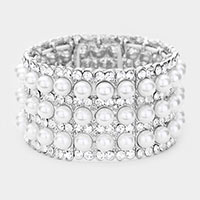 Pearl Rhinestone Crystal Stretch Evening Bracelet