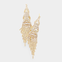 Crystal Rhinestone Fringe Evening Earrings