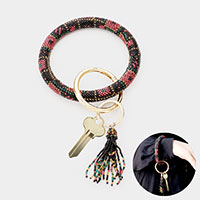Multi Bead Statement Tassel Key Ring /Bracelet