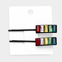2PCS - Colorful Stone Pave Resin Bobby Pins