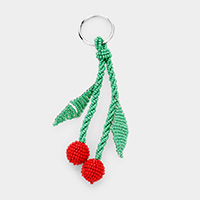 Seed Bead Cherry Key Chain