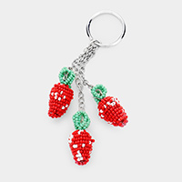 Seed Bead Strawberry Key Chain