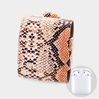 Snake Pattern Protective Leather Airpod Case / Key Chain