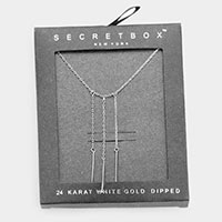 Secret Box _ 24K White Gold Dipped 3 Row Drop Pendant Necklace
