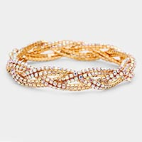 Rhinestone Twist Stretch Bracelet