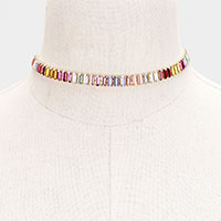 Rainbow Colorful Stone Choker Necklace